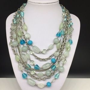 Lia Sophia Blue Clear Turquoise Beaded Necklace